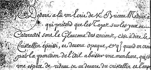 lettre de Brisseau à l'Académie